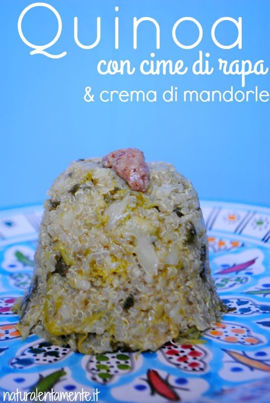 quinoa con cime di rapa con scritta